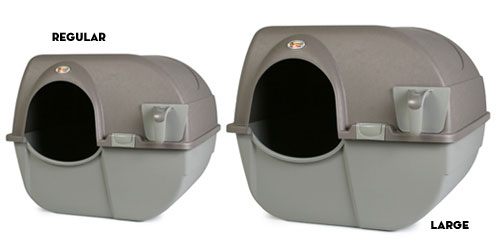 the rollaway is available in two sizes the large litter box is great for big cats or for multiple cat households
